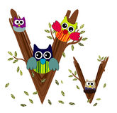 Wood Letter V owl Vector. Nature Stock Photos
