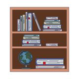 Wood library with stack books and world map on white background. Vector illustration Royalty Free Stock Images