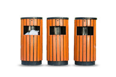 Wood litter bin in the park, Trash container isolate Stock Images