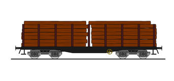 Wood loaded flat car Royalty Free Stock Images