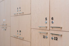 Wood locker in changing room Royalty Free Stock Photo