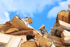 Chopped birch firewood for heating in winter stock photos