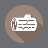 Wood log flat icon. Round colorful button, circular vector sign with long shadow effect. Flat style design Stock Image