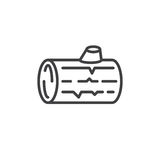 Wood log line icon, outline vector sign, linear style pictogram isolated on white. Symbol, logo illustration. Editable stroke. Pixel perfect Stock Image