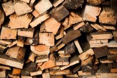 Wood log stockpile. Background, close-up view Royalty Free Stock Photos