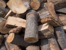 Wood log in the yard. Már most gyűjtik a fát télire Stock Photo