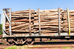 Wood Logging Poles Train Stock Photography