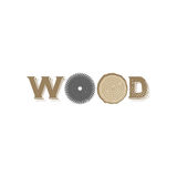 Wood logo. Typographic wood letters that can be used for a logo or as isolated graphic element Stock Images