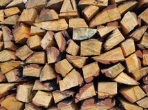 Wood logs. Background with yellow wood logs Stock Photo