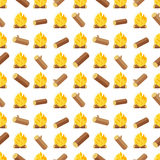 Wood logs and bonfires seamless pattern vector illustration