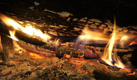 Wood logs burning Royalty Free Stock Photography
