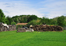 Wood logs and countryside green Stock Photography