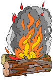 Wood Logs and Fire. Wood Logs icon with Fire and Smoke Stock Photos