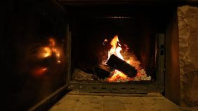 Wood logs fire burn in fireplace, romantic atmosphere. Wood logs fire burn in fireplace creating romantic atmosphere stock video