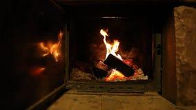 Wood logs fire burn in fireplace, romantic atmosphere stock video