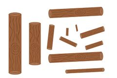 Set of logging, stumps and boards, woodpile and wood logs– stock illustration stock illustration