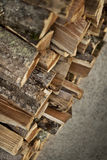 Wood logs in a shed Stock Photography