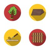 Wood, logs in a stack, chisel, fence. Lumber and timber set collection icons in flat style vector symbol stock Royalty Free Stock Images
