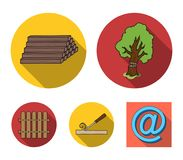 Wood, logs in a stack, chisel, fence. Lumber and timber set collection icons in flat style vector symbol stock. Illustration Royalty Free Stock Image