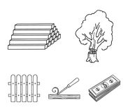 Wood, logs in a stack, chisel, fence. Lumber and timber set collection icons in outline style vector symbol stock. Illustration Stock Photo