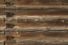 Wood logs texture of an old house. Stock Photography