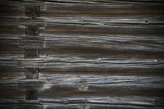 Wood logs texture of an old house. Stock Image