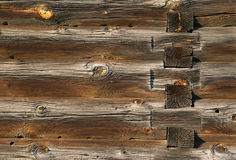 Wood logs texture of an old house. Royalty Free Stock Photo