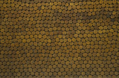 Wood logs wall design as background. Stock Photos