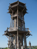 Wood look out tower. Wood panoramic look out tower in Hungary Stock Image