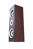 Wood Loudspeaker Isolate On The White. Royalty Free Stock Photography