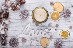 Wood love sign and christmas decoration. Wood love sign and Сhristmas decoration on wood background Royalty Free Stock Photos