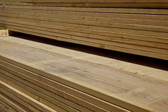 Wood lumber boards ready for building industry Royalty Free Stock Photo