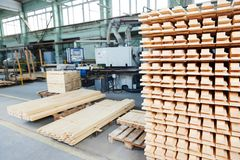 Wood lumber materials at plant Stock Images