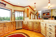 Wood luxury home kitchen interior. New Farm American home. Stock Image