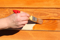 Wood målning Arkivfoto