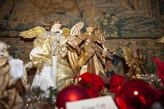 Wood made christmas angel. Wood made traditional Christmas angel stock photography