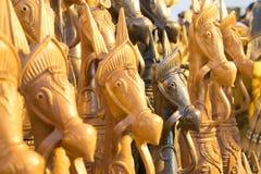 Wood made handicraft items on display , Kolkata Royalty Free Stock Photo