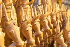 Wood made handicraft items on display , Kolkata Royalty Free Stock Images