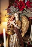 Christmas decoration angel. Wood made traditional Christmas decoration angel stock image