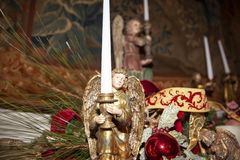 Christmas decoration angel. Wood made traditional Christmas decoration angel stock images