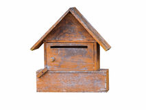 Wood mailbox on isolated white. Stock Images