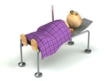 Wood man with flue in the bed. Very ill Stock Photos