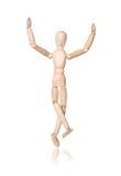 Wood man, hand up Royalty Free Stock Image