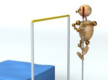 Wood  man high pole jump. 3d rendered Stock Images