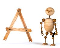 Wood man with letter a Royalty Free Stock Photo