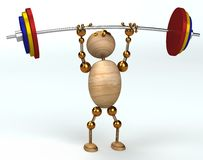 Wood man lifting heavy barbell. 3d rendered Royalty Free Stock Photography