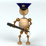 Wood man police. 3d rendered for web Stock Photography