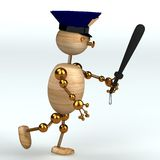 Wood man police running Stock Images