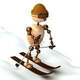 Wood man skiing down a slope Stock Images
