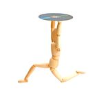 Wood mannequin with CD-rom. On white background Royalty Free Stock Photo